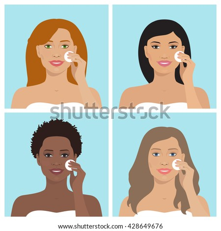 Avatar set of beautiful women of different nation. Smiling girls have various hairstyle. Every woman cleaning her face with cotton pad. Vector illustration. Beauty and health. Flat design.