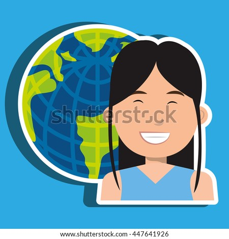 avatar with planet earth isolated icon design, vector illustration  graphic