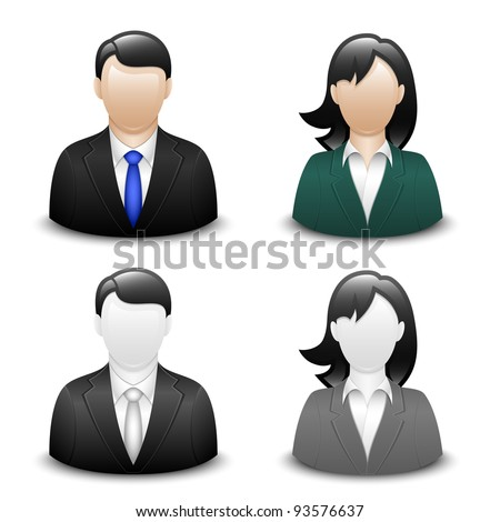 Avatars of a male and a female in business suits. Vector - stock vector