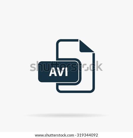 AVI video file extension. Flat vector web icon or sign on grey background with shadow. Collection modern trend concept design style illustration symbol - stock vector