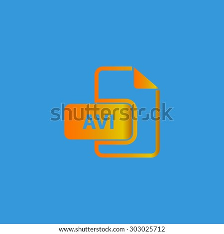 AVI video file extension. Flat web icon or sign isolated on grey background. Collection modern trend concept design style vector illustration symbol - stock vector
