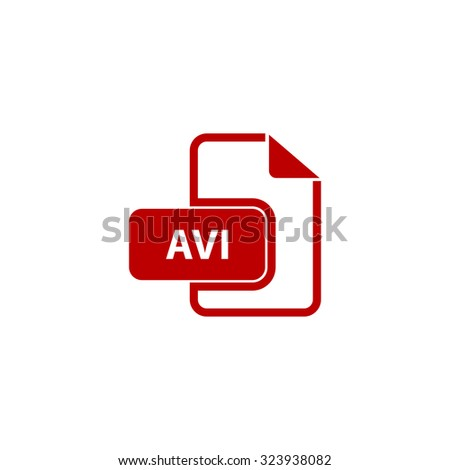 AVI video file extension. Red flat icon. Vector illustration symbol - stock vector