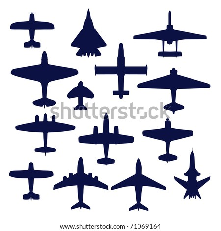 Avia set. Transport and navy airplanes and jets - stock vector