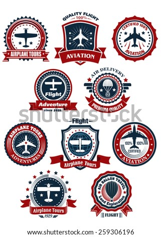 Aviation and air travel banners or emblems for travel and transportation design - stock vector
