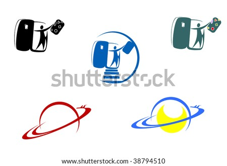 Aviation and travel symbols for design - for emblems or logo template. Jpeg version also available - stock vector