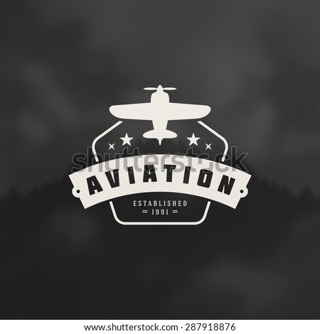 Aviation Design Element in Vintage Style for Logotype, Label, Badge and other design. Airplane retro vector illustration. - stock vector