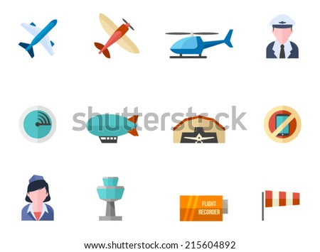 Aviation icon series in flat colors style. - stock vector