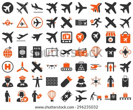 Aviation Icon Set. These flat bicolor icons use orange and gray colors. Vector images are isolated on a white background. - stock vector