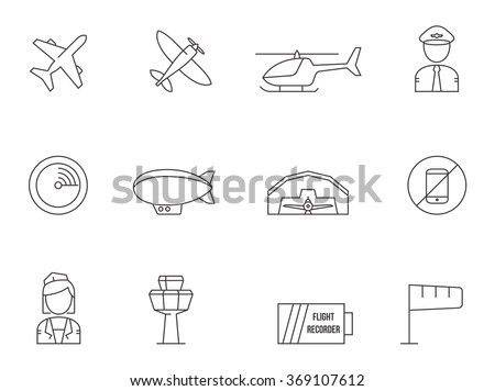 Aviation icons in thin outlines.  - stock vector