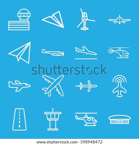 aviation icons set. Set of 16 aviation outline icons such as runway, plane, plane landing, helicopter, airport, airport tower, paper airplane