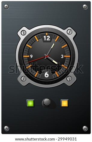 Aviation inspired clock device with orange marks on dial - stock vector