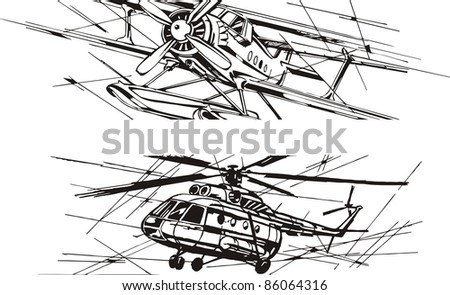 aviation, plane, helicopter - stock vector