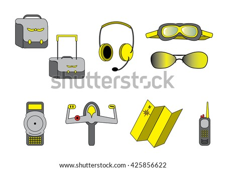 Aviation school set in grey and yellow colors. Objects for pilot students. Vector, hand drawn.  - stock vector