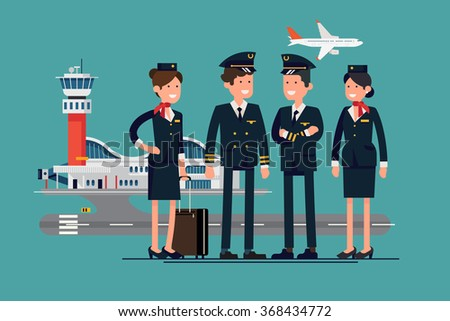 Aviation themed vector concept layout with aircrew characters such as pilots and stewardesses standing with airport and flying jet plane on background - stock vector