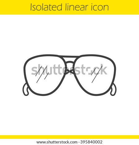 Aviator sunglasses linear icon. Men's summer fashion accessory. Thin line illustration. Sun glasses contour symbol. Vector isolated outline drawing - stock vector