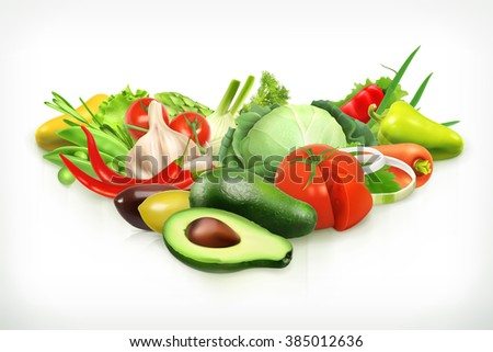 Avocado, harvest juicy and ripe vegetables vector illustration - stock vector