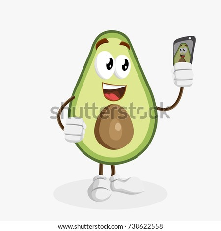 Stock vector avocado mascot with selfie pose logo 738622558