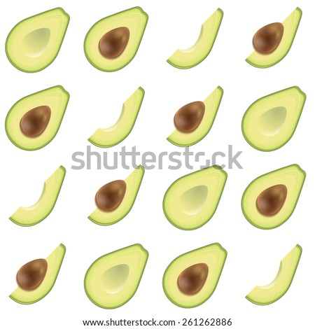 Avocado realistic tasty vector seamless pattern on colorful background - stock vector