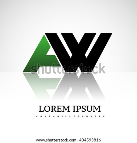 AW company linked letter logo icon green and black - stock vector