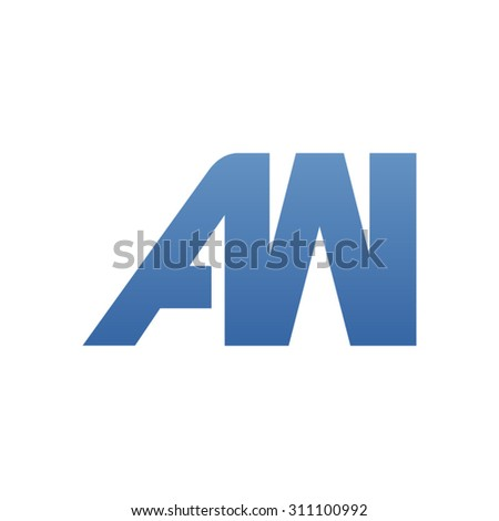 AW letter logo connected - stock vector