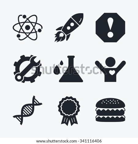 Award achievement, spanner and cog, startup rocket and burger. Attention and DNA icons. Chemistry flask sign. Atom symbol. Flat icons. - stock vector