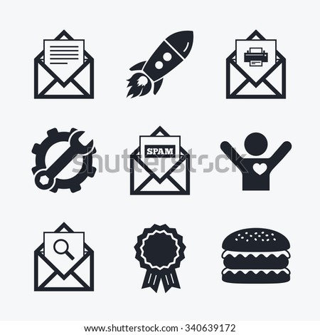 Award achievement, spanner and cog, startup rocket and burger. Mail envelope icons. Print message document symbol. Post office letter signs. Spam mails and search message icons. Flat icons. - stock vector