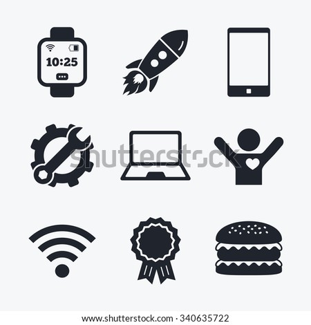 Award achievement, spanner and cog, startup rocket and burger. Notebook and smartphone icons. Smart watch symbol. Wi-fi and battery energy signs. Wireless Network symbol. Mobile devices. Flat icons. - stock vector