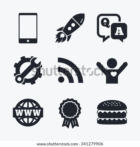 Award achievement, spanner and cog, startup rocket and burger. Question answer icon.  Smartphone and Q&A chat speech bubble symbols. RSS feed and internet globe signs. Communication Flat icons. - stock vector