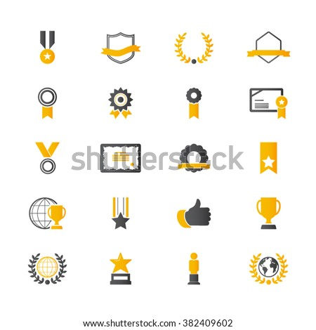 Award and Honor Icon set - stock vector