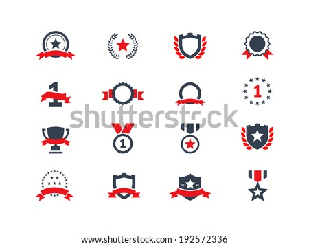 Award and trophy icons - stock vector