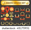 award design set - medals, badges and laurels - stock vector