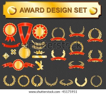 award design set - medals, badges and laurels - stock vector