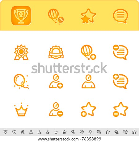 award, first place and favorite icons set - stock vector