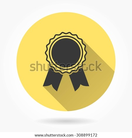 Award - icon with long shadow, flat design. Vector illustration