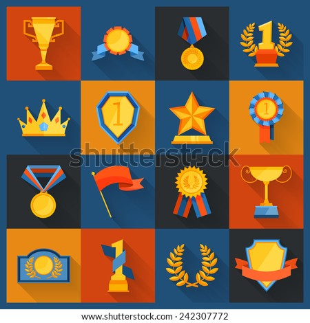 Award icons set flat of cup prize ribbon medal figurine isolated vector illustration - stock vector