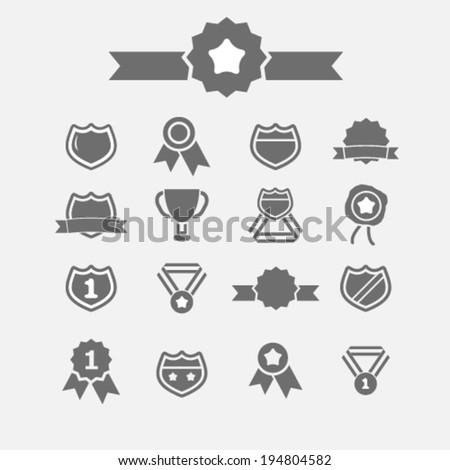 award icons set, vector - stock vector