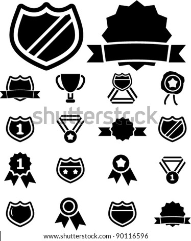 award icons set, vector illustrations - stock vector