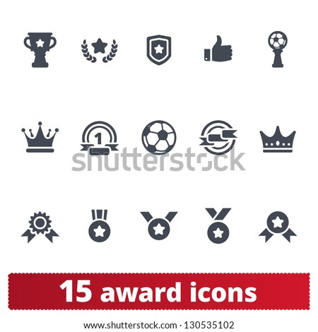 Award icons: vector set of prizes and trophy signs - stock vector
