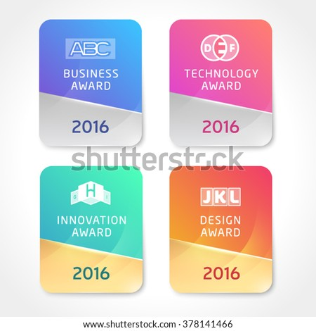 Award Icons. Vector Silver and Golden awards badges template. Round Stickers with business, technology, innovation and design awards. - stock vector