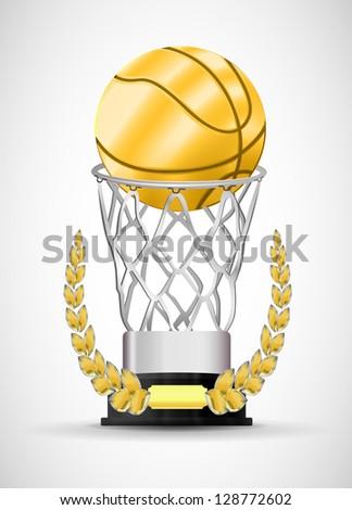 award in basketball. Golden Ball. Vector. - stock vector