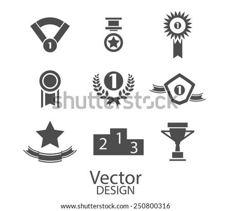 award, label icons, signs set, vector - stock vector