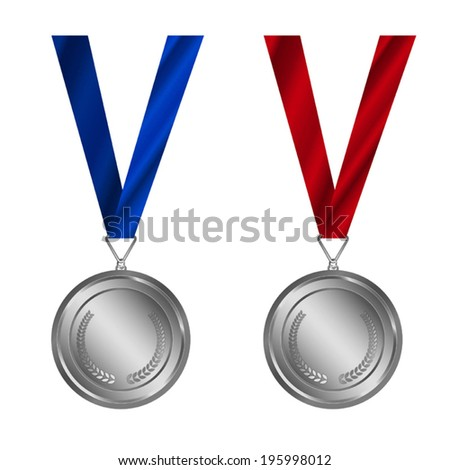 Award Medals Set, Silver Medal with ribbon, - stock vector