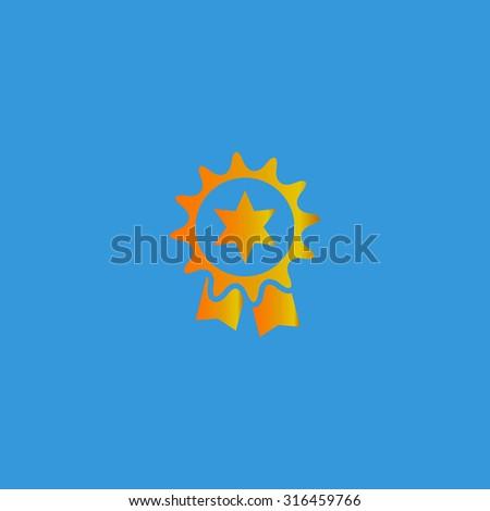 Award. Orange vector icon isolated on blue background. Illustration trend symbol - stock vector