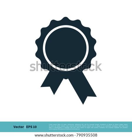 award ribbon badge icon vector logo stock vector 790935508