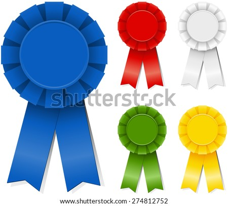 Award Ribbons - Set of award ribbons in five different colors. Colors are just a few global swatches, so file can be recolored easily. Each element is grouped separately for easy editing.