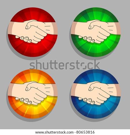 award rosette with handshake on white - stock vector
