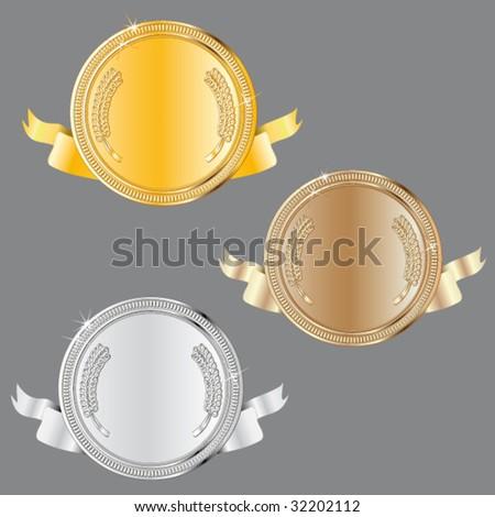 award set - vector medals - stock vector