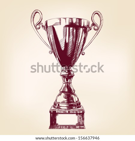 Award trophy hand drawn vector llustration - stock vector