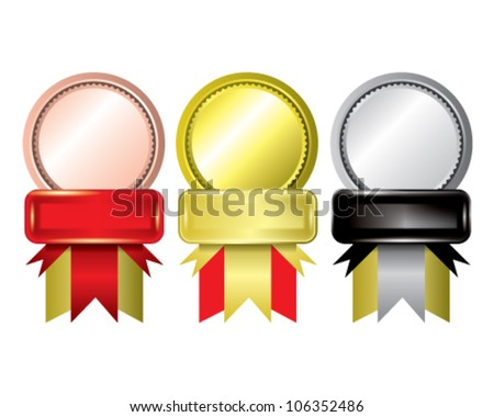 Awards as medals - gold, silver and bronze - stock vector