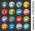 Awards icons set - stock vector